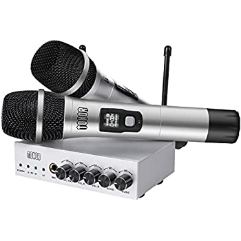 uhf wireless microphone system frunsi dual dynamic cordless handheld microphones. Black Bedroom Furniture Sets. Home Design Ideas