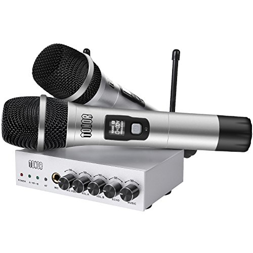 TONOR UHF Wireless Microphone System with Bluetooth Receiver, Metal Cordless Mic Kit, Connect to Amplifier or Speaker for Karaoke, Church, Weddings, Outdoor Activity, Conference, Silver, 80ft ()