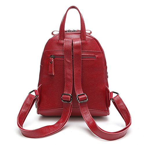 SUXCGE - Bolso mochila  de Piel para mujer Talla Unica Wine red3048