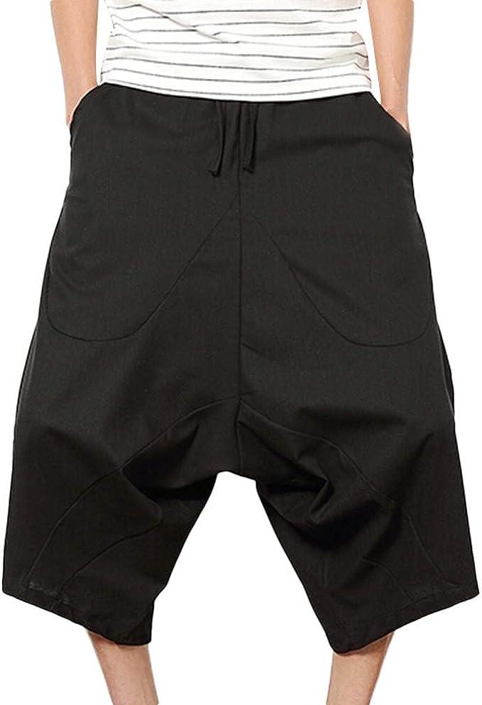 Pantalones Harem de Hombre,Pantalones Cortos Holgados de algodón ...