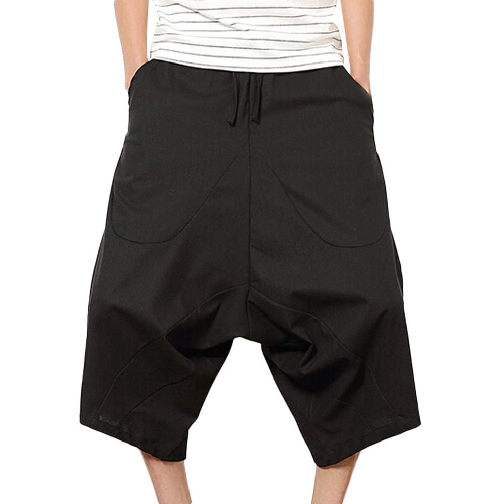 Men's Wide Crotch Harem Cotton Linen Wide-legged Bloomers Baggy Cropped Trousers,PASATO Clearance Sale(Black, XL)