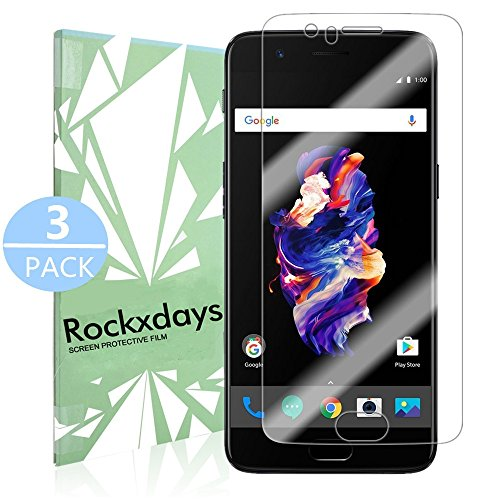 Price comparison product image [3 Pack] OnePlus 5 Screen Protector ,Rockxdays [Bubble-Free] [Full Coverage] [Easy Installation] PET Screen Protector HD Fit Touch Accurate with Easy to Install Suits For OnePlus 5