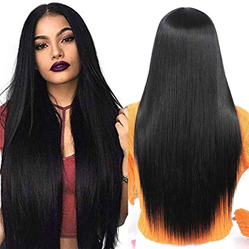 TIANTAI 26 Inch Long Black Straight Wigs for Women Straight Middle Part Wigs Heat Resistant Synthetic Wig for Party Daily Use 26 Inch