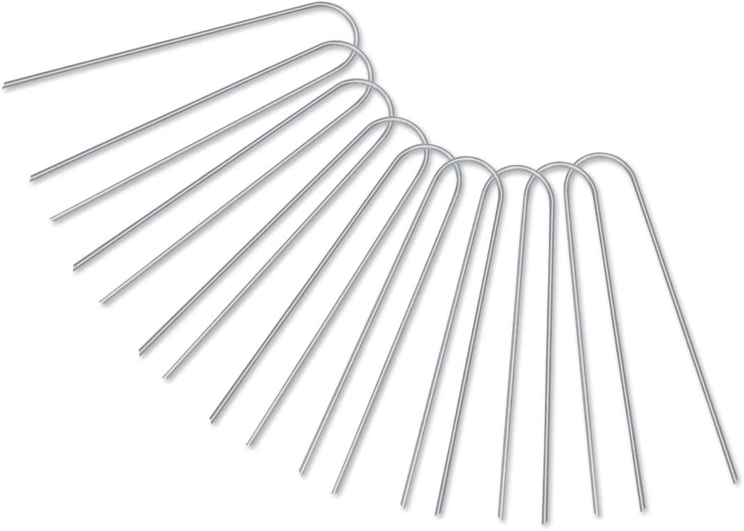 GROWNEER 200-Pack 6 Inches Heavy Duty 12 Gauge Galvanized Steel Garden Stakes Staples Securing Pegs for Securing Weed Fabric Landscape Fabric Netting Ground Sheets and Fleece