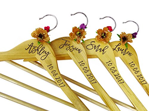 Personalized Wood Hanger Custom Engraved Wedding Hangers Wedding Bridesmaid Gift