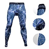 Xtextile Mens Camouflage Sports Compression Tight leggings (Large, Blue Lighting)