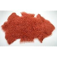 Genuine Tibetan / Mongolian Lamb Curly Fur Pelt throw rug (Rusty Red)
