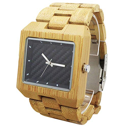 - Rectangled Wooden Watch Natural Bamboo Watches Handmade Casual Wristwatch 8018