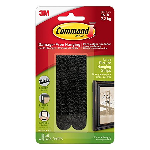 Command Picture Hanging Strips Value Pack 4WLGL, Large, Black, 8-Pairs by Command