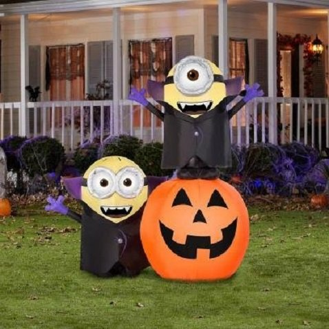 Halloween Lighted Minion Pumpkin Outdoor Inflatable Yard Decoration, 6.5 ft High x 6 ft Wide by Airblown Inflatable (Image #5)