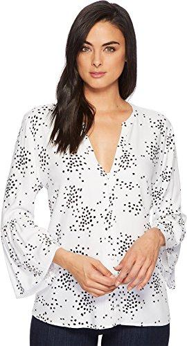 CATHERINE CATHERINE MALANDRINO Women's Colette Button Up 3/4 Peplum Hem Shirting Painter's Dot White (3/4 Sleeve Shirting Top)
