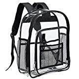 Heavy Duty Clear Backpack, Transparent See Through Bookbag with Large Compartment, Mesh Pocket and Key Hook for School, Work and Travel
