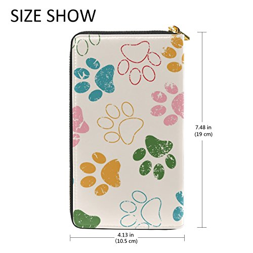 Footprints Or Zip TIZORAX Pattern Womens Paws Around Clutch 4 Dog Organizer And Wallet Purses Handbags Cat wpqwRIF