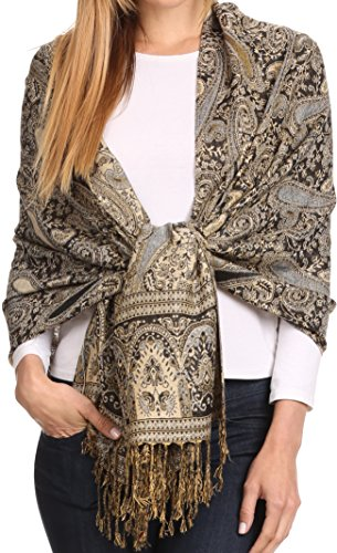 Sakkas 16125 - Kalin Long Wide Woven Patterned Fringe Tassel Pashmina Shawl / Scarf - Navy - OS