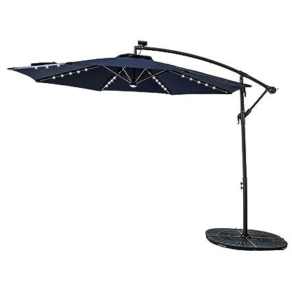 Attirant FLAMEu0026SHADE 10u0027 LED Light Cantilever Offset Umbrella, Hanging Patio Umbrella  With Solar Panel,