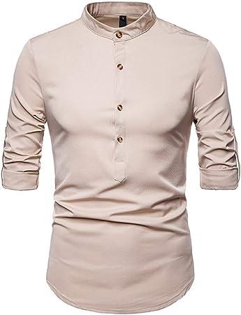 Susulv-MCL Camisa de los Hombres Camisa con Cuello pequeño Salvaje de Color sólido Camisa Casual de Manga Larga para Hombre Camisas Casuales (Color : Caqui, tamaño : Metro): Amazon.es: Hogar