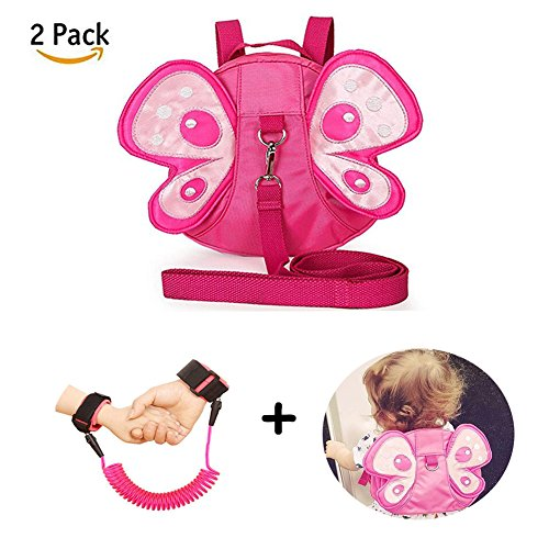 Anti Lost Wrist Link + Toddlers Leash 2 Pack Child Toddler Walking Safety Harnesses Kids Wristband Assistant Strap Belt (Butterfly Pink)