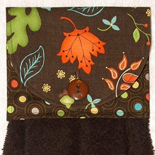 Hanging Hand Towel - Hanging Kitchen Towel in Autumn Leaves Print With Plush Brown Towel