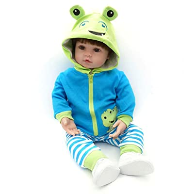 48 cm/60 cm muñeca Reborn Simulation bebé muñeca réaliste juguetes muñecas Reborn (silicona accompagnant para niños educación précoce regalo de cumpleaños azul azul Talla:60cm: Bebé