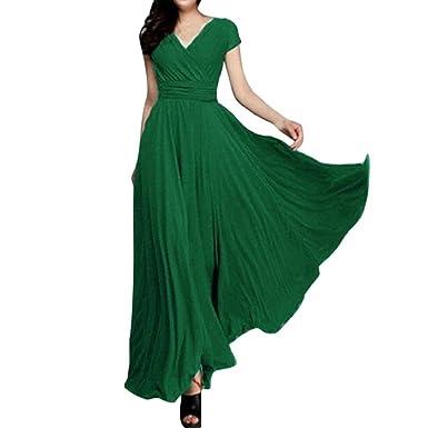44054b1c3bfa7e PAOLIAN Damen Kleider, Frauen Elegant Chiffon V-Ausschnitt Abendkleid Party langes  Kleid Ärmelloses Sommerkleid