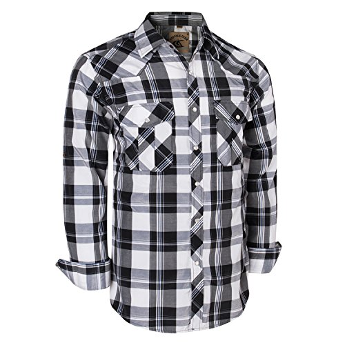 Coevals Club Men's Long Sleeve Casual Western Plaid Snap Buttons Shirt (M, (Snap Front Western Shirt)