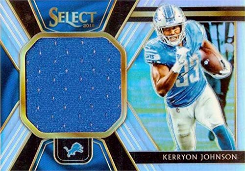 Kerryon Johnson player worn jersey patch football card (Detroit Lions) 2018 Panini Select Refractor #17 LE 16/99