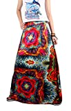 Novia's Choice Women African Floral Printed Pleated High Waist Maxi Skirt A Line Skirt(Style 2) L