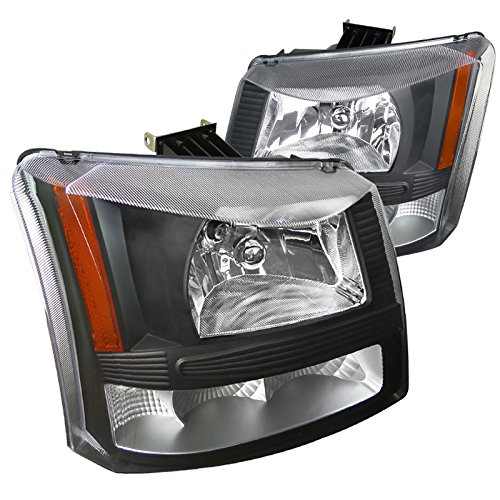 Silverado 1 Piece Headlight (Spec-D Tuning 2LH-SIV03JM-ABM Black Headlight (Crystal Housing 1 Piece Design))