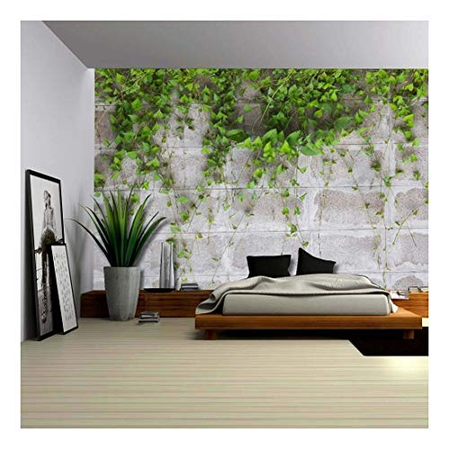 Green Vines ping on a Gray Brick Wall Wall Mural Removable Wallpaper