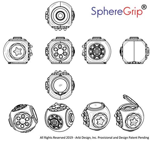 SphereGrip, Fidget toy, Reduce Anxiety and Stress, Increase Self-confidence, Fidget, Storage, Mirror (All 6 combinations) by Arbi Design (Image #3)