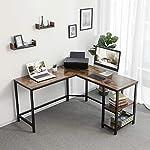 VASAGLE Computer Desk, L-Shaped Writing Workstation, Corner Study Desk with Shelves for Home Office, Space-Saving, Easy…