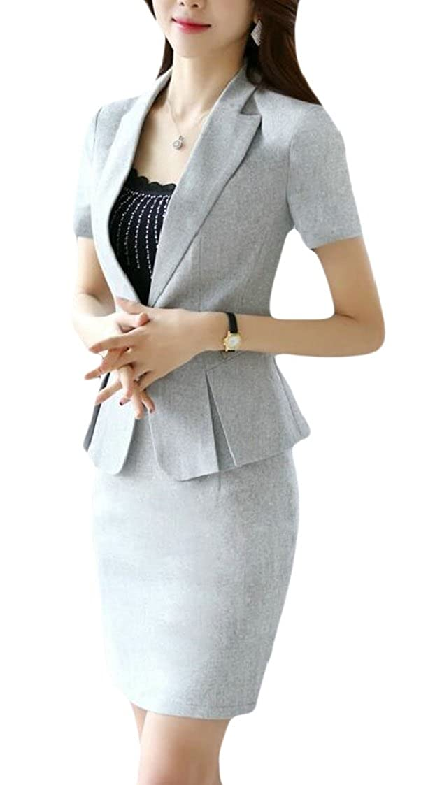 lovever Womens 2 Pieces Business Skirt Suit Set Office Work Slim Fit Blazer and Skirts Sets