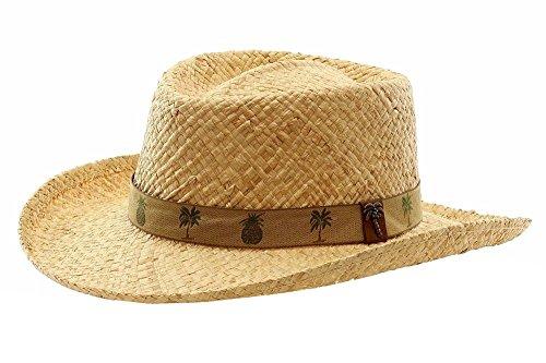 Scala Classico Men's Organic Raffia Straw Natural Gambler Sun Hat Sz: L ()