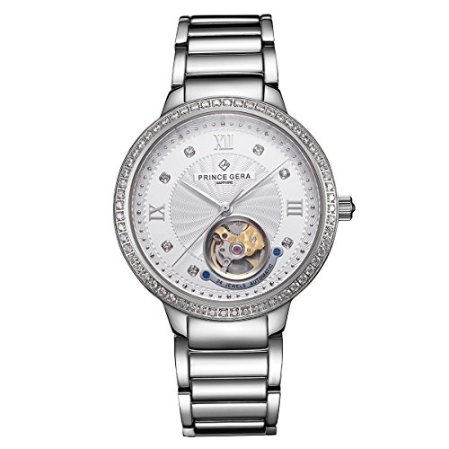 PRINCE GERA Sliver Couple Watch for Women Waterproof Diamonds Automatic Watch Skeleton by PRINCE GERA