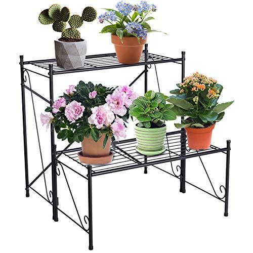 DOEWORKS 2 Tier Metal Plant Stand Storage Rack Shelf, Flower Pot Holder Display Shelf, Black