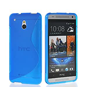 EVERGREENBUYING S-line Soft Gel TPU Silicone Back Case Cover For HTC One Mini M4 Blue