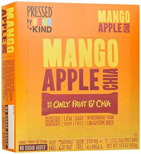 Pressed by KIND Bars, Mango Apple Chia, Gluten Free, No Sugar Added, 1.2oz, 12 (Apple Chocolate Sugar)