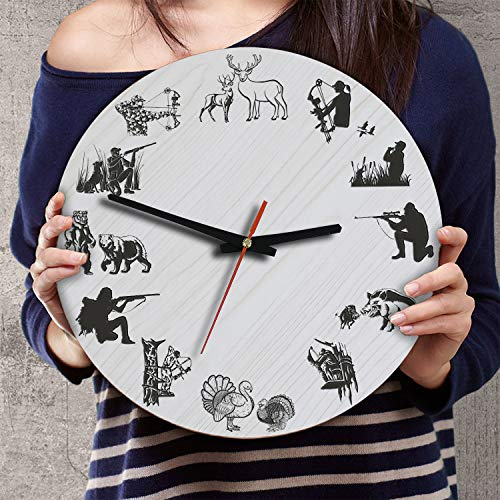 (VTH Global 12 Inch Silent Battery Operated Hunting Wood Wall Clocks Hunting Gifts for Men Hunters Lovers Husband Wife Grandpa Papa)