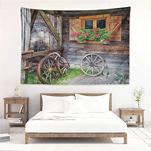 alisos Shutters,Dorm Tapestry Weathered Window with Flowers in Pot Wheels Farmhouse Rural Scene Front View 72W x 54L Inch Towel Throw Tapestry Decor Brown Green ()