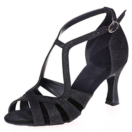 Elobaby Chaussures De Danse Pour Femmes Moderne SoiréE Latin Peep Toe Talon Standard Satin /7.5cm Talon / A8349 Black
