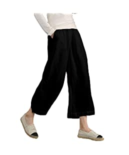 Nevera Women's Pants Ladies Cotton Linen Solid Loose Wide Leg Trousers with Pockets Black