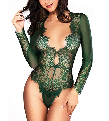 Women Sexy Lingerie Long Sleeve Bodysuit Lace Deep V Bodysuit Lingerie Sheer Teddy Lingerie Emerald Green -