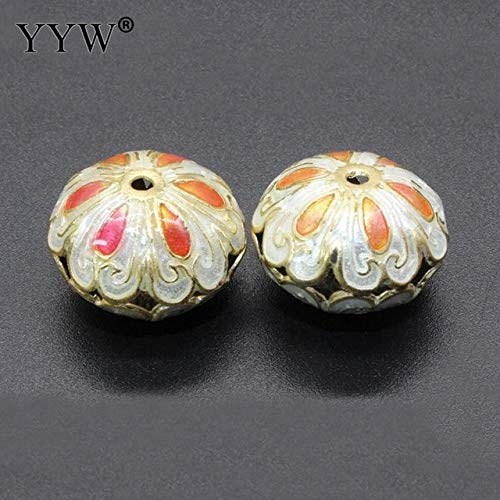 Calvas Cloisonne Beads Flat Round Handmade Hollow Flower More Colors for Choice 18x8mm Hole:Approx 1.5mm 10pcs/Bag Sold by Bag - (Color: - Cloisonne Flat Round Beads