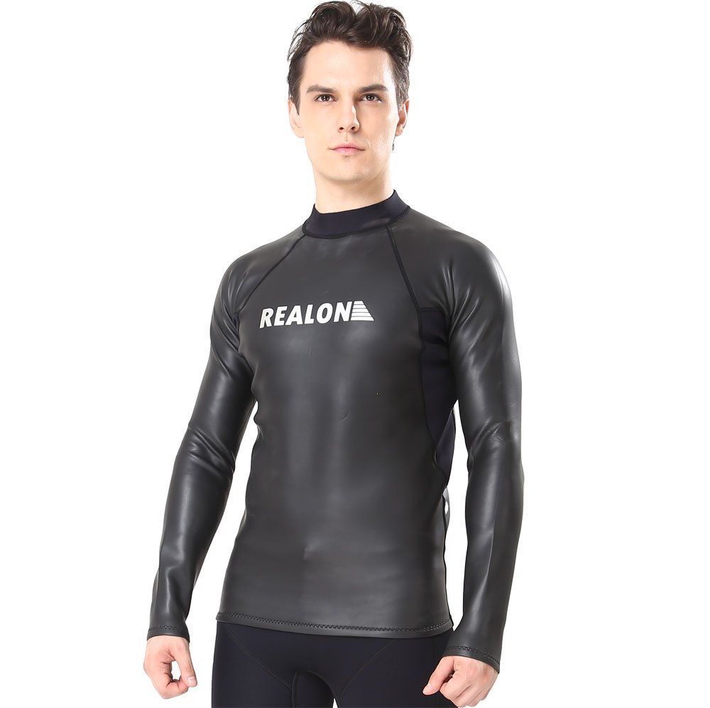 Flexel Men Wetsuit Top Jacket Smooth Skin Long Sleeve Surf Suit 1.5mm Premium Neoprene Scuba Warm for Swimming Diving Snorkeling Surfing Fishing Water Sports (1.5mm Black, Small) by Flexel