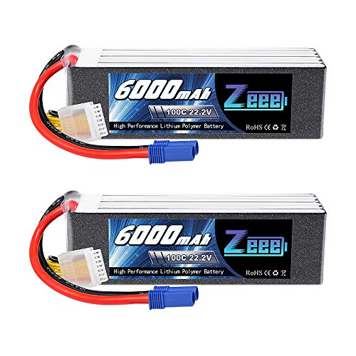 Zeee 6S Lipo Battery 22.2V 100C 6000mAh with EC5 Connector RC Battery for RC Car Truck RC Airplane Helicopter Quadcopter Boat (2 Packs)
