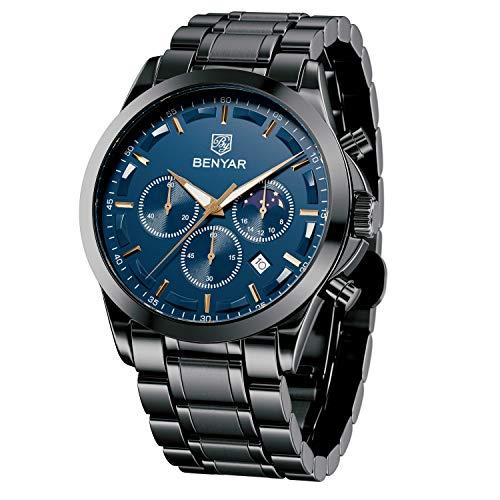 BENYAR Mens Watch Chronograph Waterproof Analog Quartz Wrist Watch Stainless Steel/Leather Strap & Waterproof