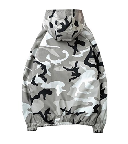 Camo Zip Men's Windproof XINHEO Grey Outerwear Front Hood with Overcoat nAPEn