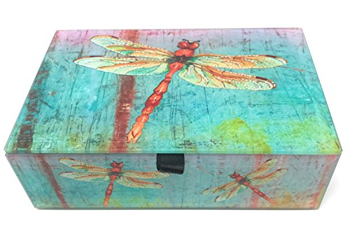 Value Arts Watercolor Dragonflies Glass Keepsake Box, Beveled Glass, Velvet Lined, 5.75 Inches Wide