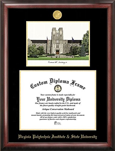 Campus Images VA999LGED Virginia Tech Embossed Diploma Frame with Lithograph Print, 13.5