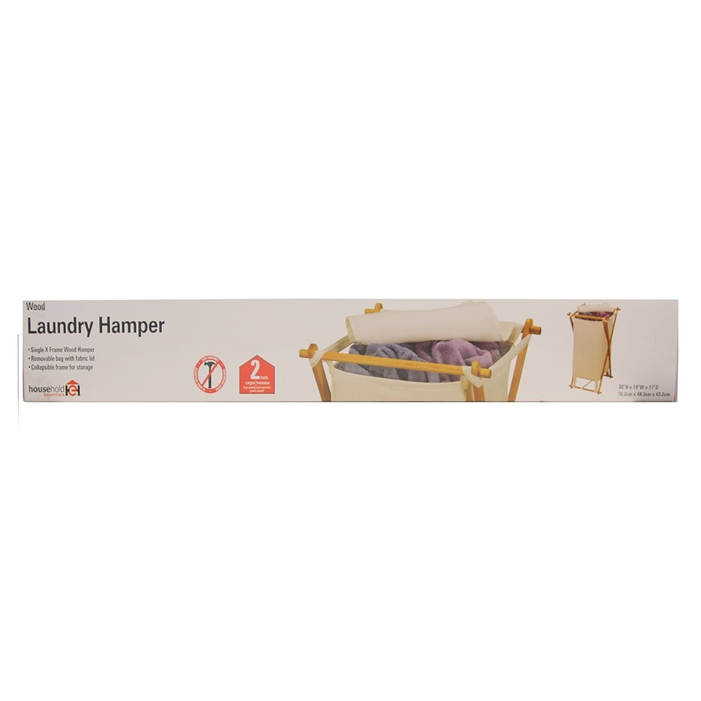 Household Essentials Wood X-Frame Hamper with Polyester Bag and Lid